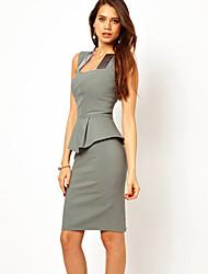 FJSY señoras sin mangas del volante del vestido Sexy (Gray)