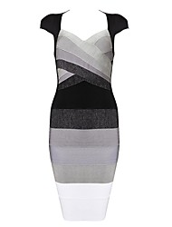 Women's Formal Sexy Dress,Color Block Knee-length Sleeveless Gray Rayon / Spandex All Seasons