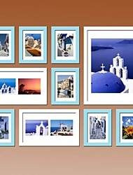 White Blue Photo Wall Frame Collection Set of 10