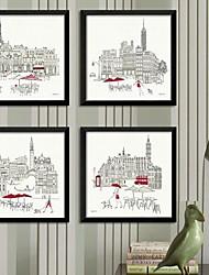 Boceto de paisaje de la ciudad Framed Canvas Set de 4