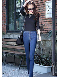 Women's Basic Buttons Closual High Waist Skinny Pencil Jeans