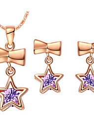 Star Purple Silver Plated (Necklaces&Earrings) Wedding Jewelry Sets