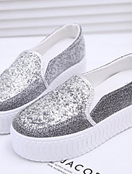 Hushan Women's Faux PU Leather Thick Soles Shoes(Silver)