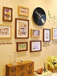 Brown Natural Color Photo Frame Collection Set of 9 with a Black Disc Clock and Music Wall Sticker