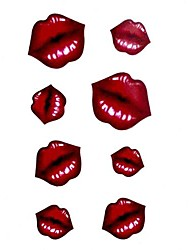 5 Pcs Red Lip Waterproof Temporary Tattoo(10.5cm*20.5cm)