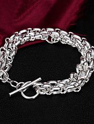 High Quality Punk Silver Silver-Plated Circles Linked Charm Bracelets