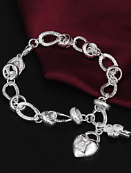 High Quality Sweet Silver Silver-Plated Heart And Key Charm Bracelets