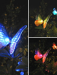 Set Of 2 Solar Fibre Optic Butterfly Stake Lights(Cis-57125)