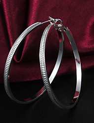 Hot Sale High Quality Graceful Slivery Alloy Women's Hoop Earring(1 Pair)