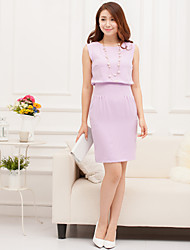 AMC High-Waist Wrinkle Sleeveless Dress(Lilac)