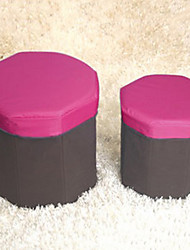 Modern Solid Octagon Lidded Storage Box and Stool - 3 Colors Available