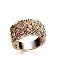 Rencontrez-vous or rose 18 carats de placage anneau incrusté de strass autrichiens