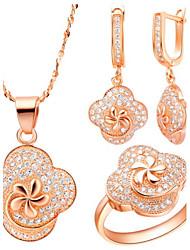 Original Silver-plaqué zircon Fleur Sur Jewelry Set Clover femmes (collier, boucles d'oreilles, bague) (or, argent)