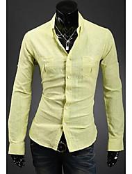 Men's Long Sleeve Shirt , Cotton/Linen Casual