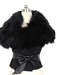 Women's Fur Collar Short Coat with Belt