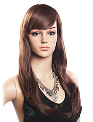 High Quality 20% Human Hair & 80% Heat-resistant Fiber Hair Capless Long Wavy Wig(Dark Brown)