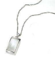 Exquisite Jewellery 925 Silver The Cat Eye Stone Rectangular Necklace