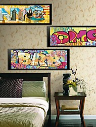Pop Words Art Cartoon Framed Canvas Print Set of  3