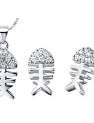 Fishbone Plata Silver Plated (collares y aretes) Set de Joyas de boda
