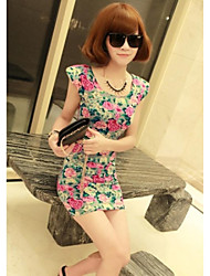 Women's Floral Black/Pink/Yellow Dress , Print Round Neck Sleeveless