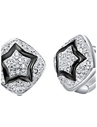 Special Silver Plated With Cubic Zirconia Rhombus Shape And Star Stoving Varnish Women's Earring