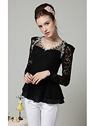 Women's Spring Blouse Long Sleeve White / Black Polyester Medium