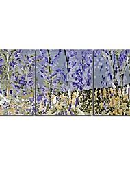Main peinture à l'huile peinte d'arbre de paysage bleu avec Set cadre tendu de 3