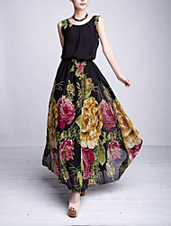 Women's Fashion O-Neck Floral Chiffon Ball Gown Dress