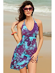 Women's Print Animal Print Dress , Beach Halter/Deep V Sleeveless