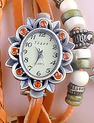 BA Fashion Vintage Rhinestone Beaded Pendants Wristwatch(Orange,Green,Coffee,Black,Red)