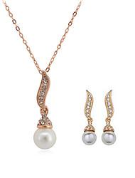 Rencontrons-nous Perle or rose 18 carats de placage Set incrusté de strass autrichiens