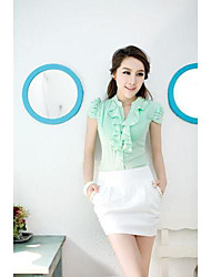Women's Solid Blue/Pink/White/Green Blouse , Ruff Collar Short Sleeve Ruffle