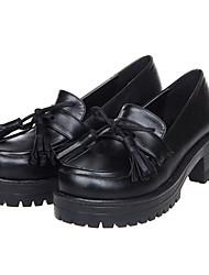 Negro de las borlas de la Plataforma Classic Lolita PU 5cm zapatos de cuero de tacón alto