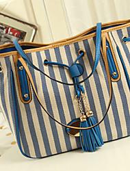 POLO Damenmode Stripes Leinwand-(blau)