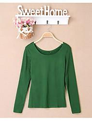 Klassische Lizi Frauen Runde Solid Color koreanischen Langarm-T-Shirt (Screen Color)