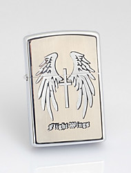 Personalized Father's Day Gift Engraved Wing Pattern Gray Oil Lighter