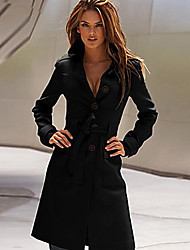 Women's Belted Trench Coat with Button Decor