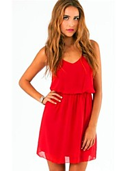 Women's Sexy V Neck Chiffon Mini Dress