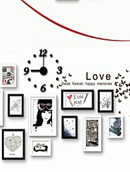 White Black Photo Wall Frame Collection Set of 11 with DIY a Wall Clock