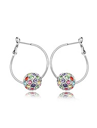 1000se Women's Fashion Big Round Colorful Crystal Earrings 6346