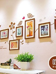Brown Photo Frame Collection Set of 7 with Flower Wall Sticker