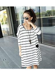 Mujeres sueltan más el tamaño Mini vestido a rayas de manga larga