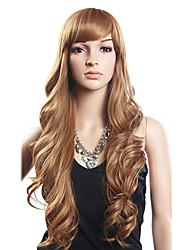 20% Human Hair 80% Synthetic Heat-resistant Fiber Hair Long Wavy Wig