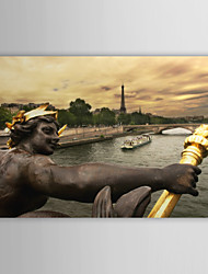 Reproduction transférée sur toile Art Paysage Statue en bronze et Tour Eiffel