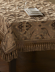 Spun Gold Jacquard Floral Light Coffee Polyester Table Cloth