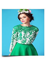 Women's long sleeved loose leaf Printed Chiffon Lace shirt
