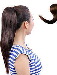 Japanese Kanekalon Synthetic Fiber Ribbon Tied Chestnut Brown Horsetail Ponytail Straight Hairpiece