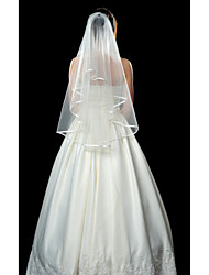 Wedding Veil One-tier Fingertip Veils Ribbon Edge 53.15 in (135cm) Tulle White / IvoryA-line, Ball Gown, Princess, Sheath/ Column,