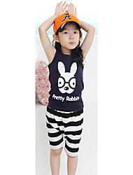 Girl's Cotton Clothing Set , Summer Sleeveless