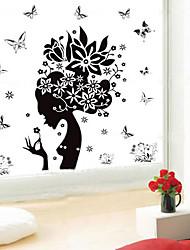 1pcs fleur noire sticker mural de fées